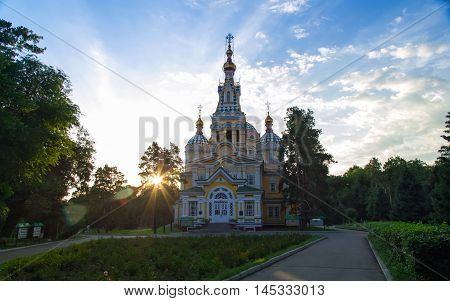 Almaty, Kazakhstan, July 1, 2015. Zenkov Cathedral under the rays of the morning sun. Probably the only wooden Cathedrals in the world.