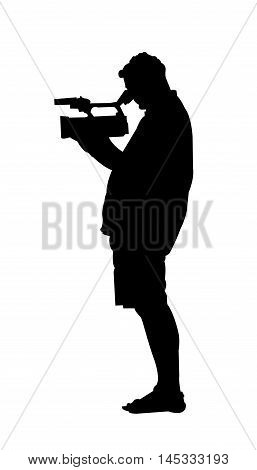 Cameraman Silhouette on White Background. Isolated vector illustration people and technology theme.