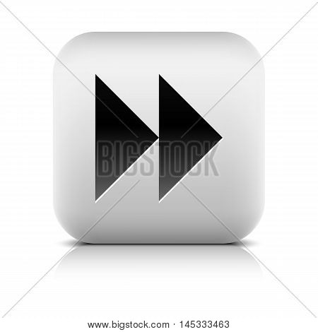 Media player icon with next forward sign. Rounded square web button with shadow and reflection on white background. Series in a stone style. Graphic vector illustration internet design element 8 eps