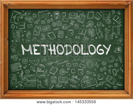 Methodology Concept. Line Style Illustration. Methodology Handwritten on Green Chalkboard with Doodle Icons Around. Doodle Design Style of  Methodology.