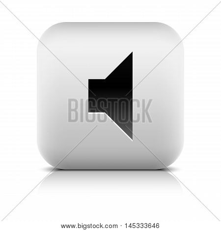 Media player icon with volume mute sign. Series in a stone style. Rounded square web button with gray reflection black shadow on white background. Vector illustration internet design element 8 eps