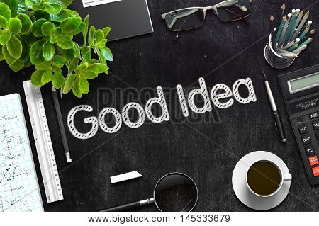 Good Idea Concept on Black Chalkboard. 3d Rendering. Toned Image.