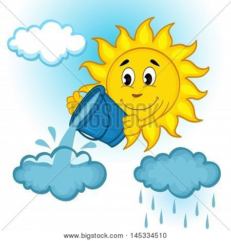 sun and clouds with rain - vector illustration, eps