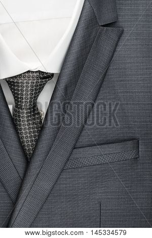 Classic suit shirt and tie close-up top view