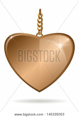 Gold pendant in the form of heart on a gold chain. Vector illustration.