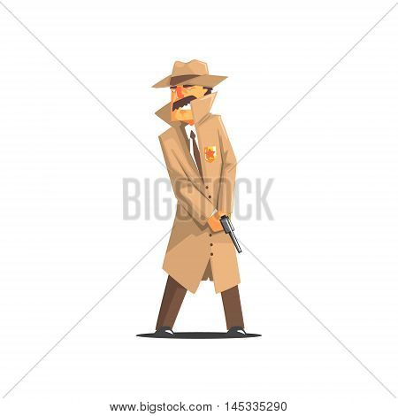 Police Detective In A Long Coat And Hat Old School Chicago Mafia Themed Illustration. Cool Colorful Vector Sticker In Stylized Geometric Cartoon Design