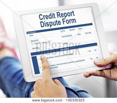 Credit Report Dispute Form Insurance Concept