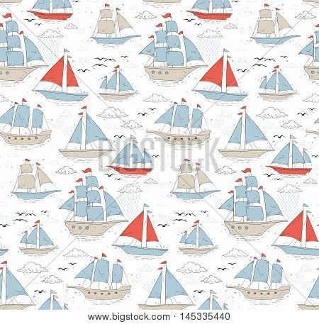 Seamless pattern with sailboats, clouds, curls and gulls