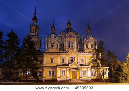 Almaty, Kazakhstan - March 29, 2016. Almaty Cathedral at night.