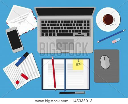 Top view of working place elements on table. Set three of Flat vector design illustration of modern business office and workspace.