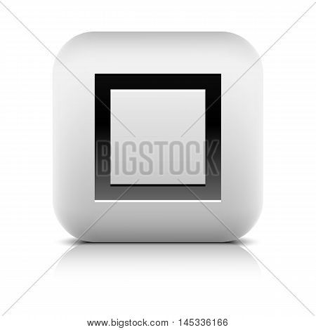 Media player icon with stop sign. Rounded square web button with black shadow gray reflection on white background. Series in a stone style. Graphic vector illustration internet design element 8 eps