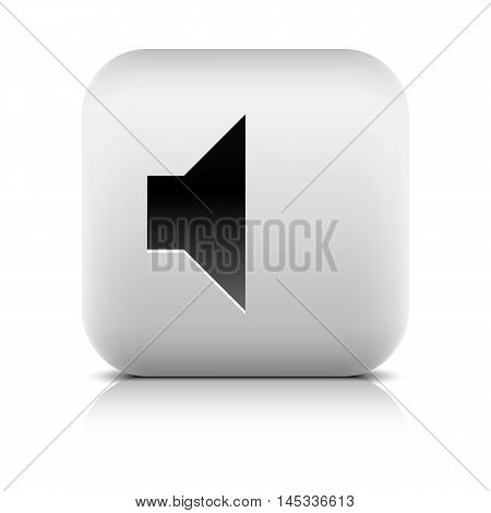 Media player icon with volume mute sign. Series in a stone style. Rounded square web button with black shadow and gray reflection on white background. Vector illustration internet design element 8 eps