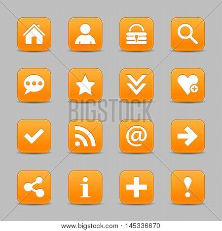 16 orange satin icon with white basic sign on rounded square web button with color reflection on background. This vector illustration internet design element save in 8 eps