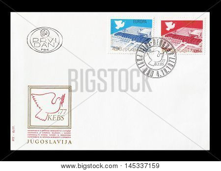 YUGOSLAVIA - CIRCA 1977 : Cancelled First Day Cover letter printed by Yugoslavia, that shows Sava Centar.