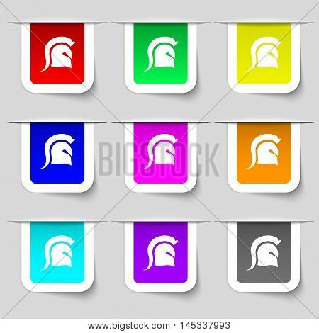 Spartan Helmet Icon Sign. Set Of Multicolored Modern Labels For Your Design. Vector
