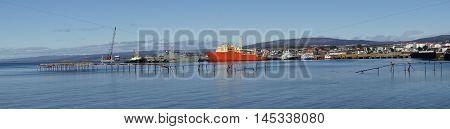 Historic waterfront of Punta Arenas running along the Magellan Strait in Patagonia, Chile