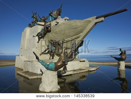 Maritime Monument on the historic waterfront of Punta Arenas running along the Magellan Strait in Patagonia, Chile
