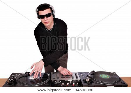dj with sunglasses play music on turntables