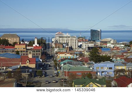 Colourful rooftops of Punta Arenas in southern Chile overlooking the Strait of Magellan.
