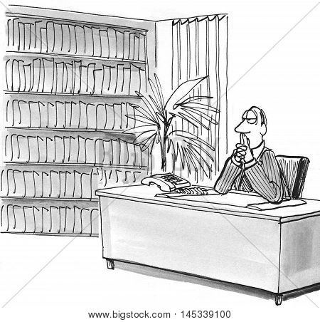 Illustration of businessman in deep thought sitting at his desk.
