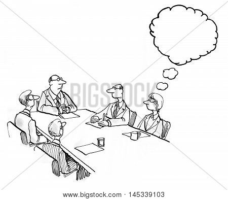 INSERT YOUR OWN TEXT.  Business illustration of a meeting and a woman thinking.