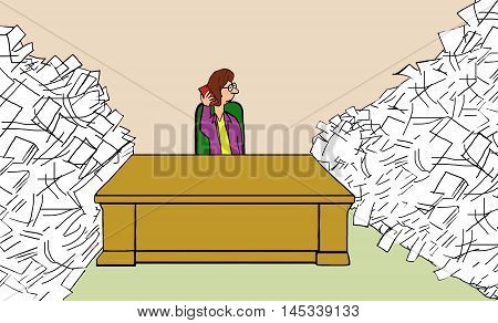 Illustration of businesswoman with lots of paperwork to finish, who is talking on her cell phone and avoiding work.