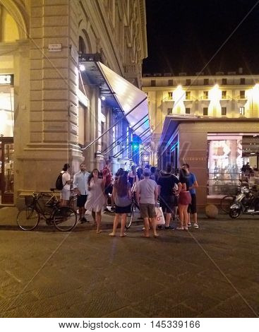 Group Of Tourists In Florence