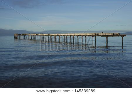 Historic waterfront of Punta Arenas running along the Magellan Strait in Patagonia, Chile