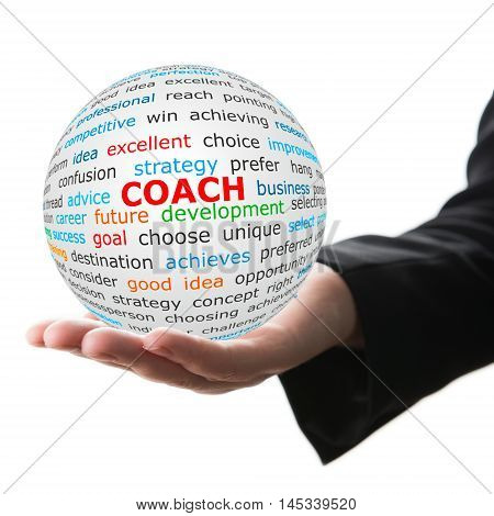 Coach concept. Hand take white ball with wordcloud and coach word in red color.