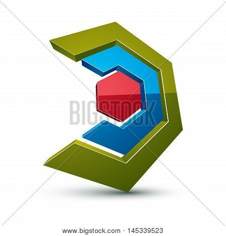 Three-dimensional Colorful Graphical Icon Isolated On White, Teamwork Idea Vector Design Element. Ab