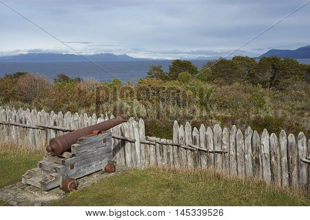Reconstructed fort of Fuerte Bulnes on the coast of the Magellan Strait in Patagonia, Chile. Originally founded in 1843.