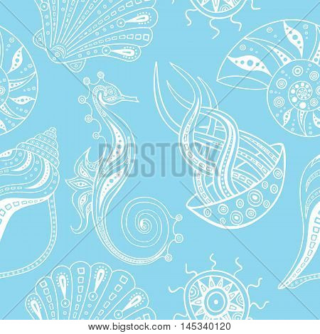 Seamless pattern with different marine life in white and blue color. Vector illustration. Background with sea animals.