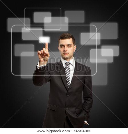Businessman Push The Button
