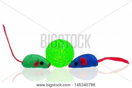 Toy mice for little kitten isolated on white background