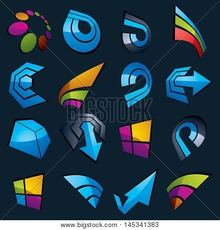 Geometric Abstract Blue Vector Shapes. Collection Of Arrows, Navigation Pictograms And Multimedia Si