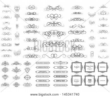 Vintage set exclusive borders and frame. Wicker lines and business vector decor elements. Luxury page decoration with genuine. Design element with original, brand, product, quality, vip. Calligraphic