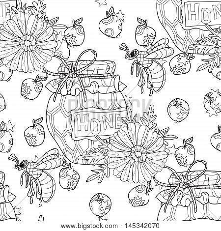 Honey pot doodle and bee with flowers seamless pattern.Hand drawn vector illustration. Sketch for tattoo adult coloring anti stress book. Insect collection boho style.