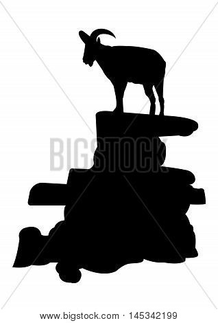 Chamois on the Rock Silhouette on White Background. Isolated vector illustration animal and nature theme.