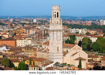 Aerial view of the city of Verona with the Cathedral view from the hill of Castel San Pietro (St. Peter Castle). UNESCO world heritage site - Veneto Italy
