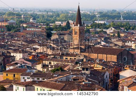Aerial view of the city of Verona with the Church of San Tomaso Cantuariense (XV century). UNESCO world heritage site - Veneto Italy