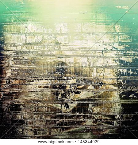 Vintage background in scrap-booking style, faded grunge texture with different color patterns: yellow (beige); brown; green; black; white; cyan