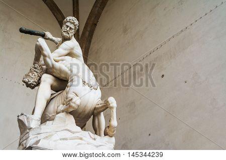 Hercules and Nesso centaur statue in Loggia dei Lanzi in Florence Italy