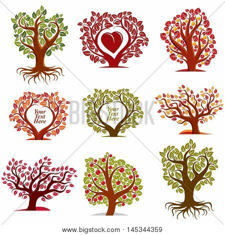 Vector Stylized Nature Symbols With Red Heart, Art Fruity Trees Collection. Gardening Idea Design El