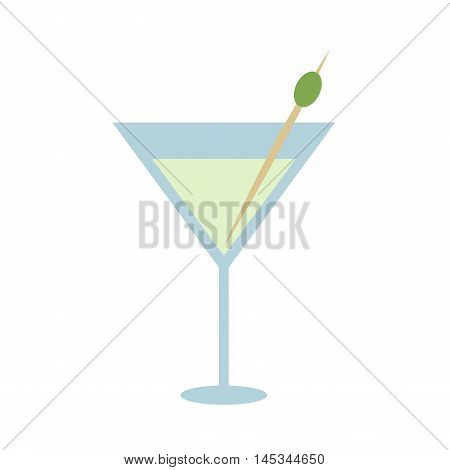 Colorful Martini Icon on White Background. Isolated vector illustration simple icon. Food and drink theme muted shades of colors.
