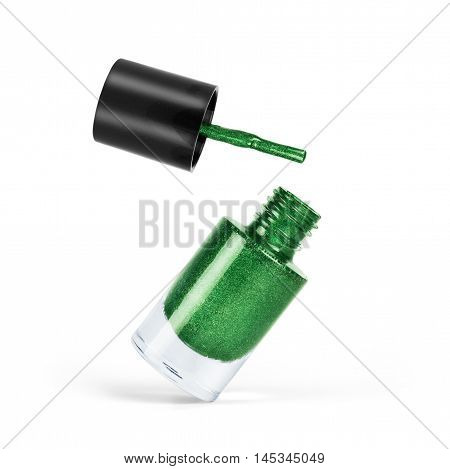 Green nail polish on a white background