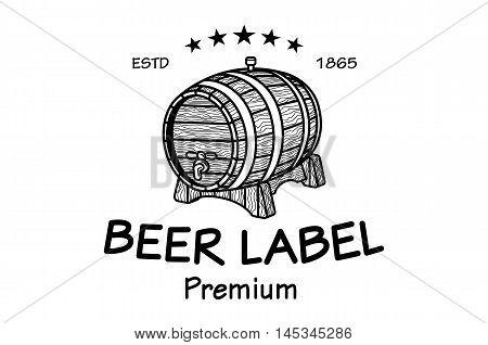 Cask Sketch. Set Of Vintage Logo Templates For Beer House, Brewing Company, Pub, Bar, Restaurant. Ve