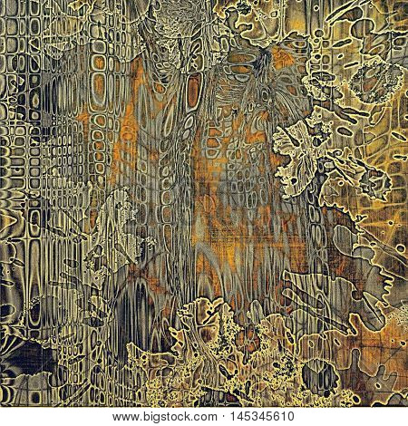 Colorful vintage background, grunge texture with scratches, stains and different color patterns: yellow (beige); brown; gray; red (orange)