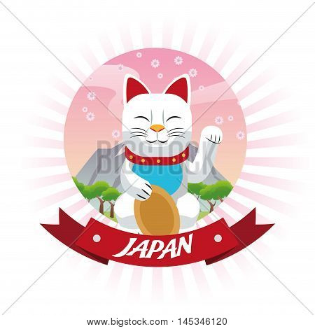 cat luck lucky japan culture landmark asia famous icon. Colorful and seal stamp design. Vector illustration