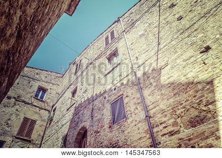 Old buildings in famous San Gimignano in Italy