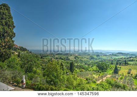 beautiful landscape seen from San Gimignano Italy